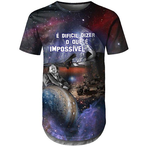 Camiseta Masculina Longline Conquistas Espaciais