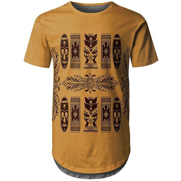 Camiseta Masculina Longline Étnica Tribal Africana Md08