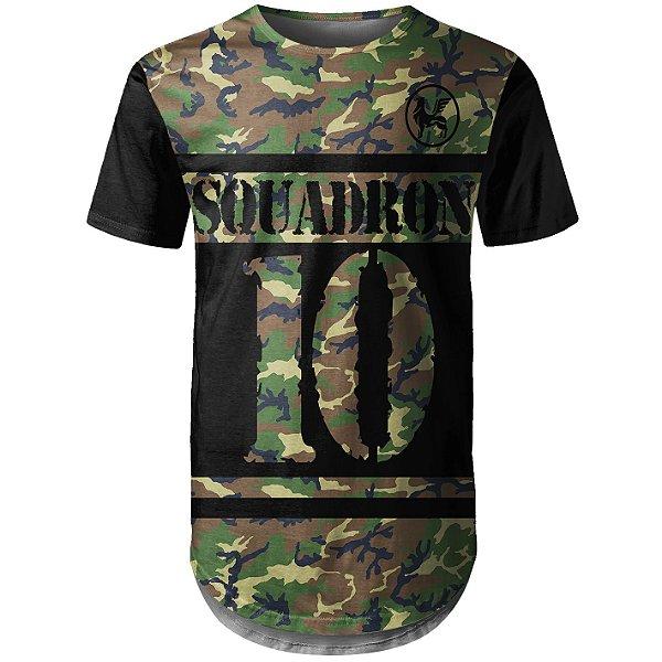 Camiseta Masculina Longline Camuflada Squadron Md01