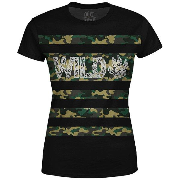 Camiseta Baby Look Feminina Camuflada Wild Md04