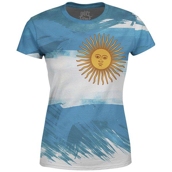 Camiseta Baby Look Feminina Bandeira Argentina Md01