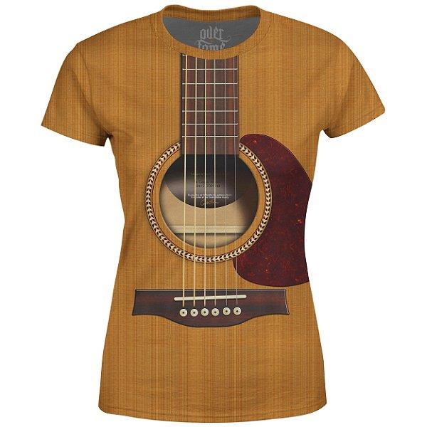 Camiseta Baby Look Feminina Violão Viola Estampa Total