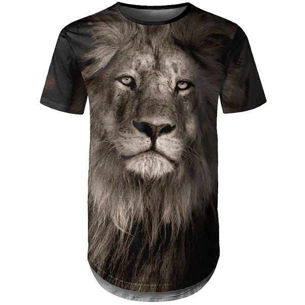 Camiseta Masculina Longline Leão Md01