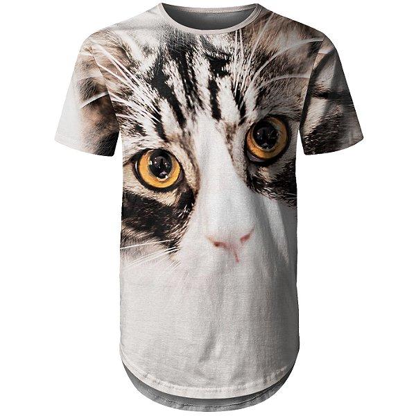 Camiseta Masculina Longline Gato Claro Md01