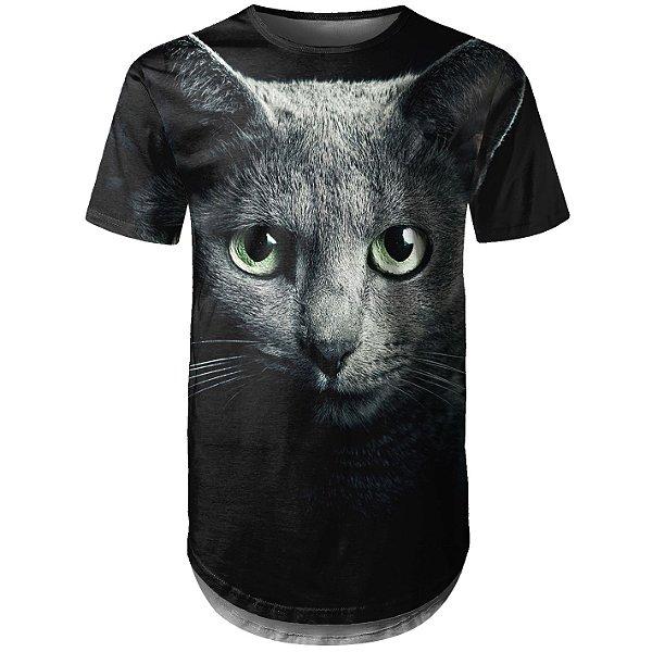 Camiseta Masculina Longline Gato Cinza Md01