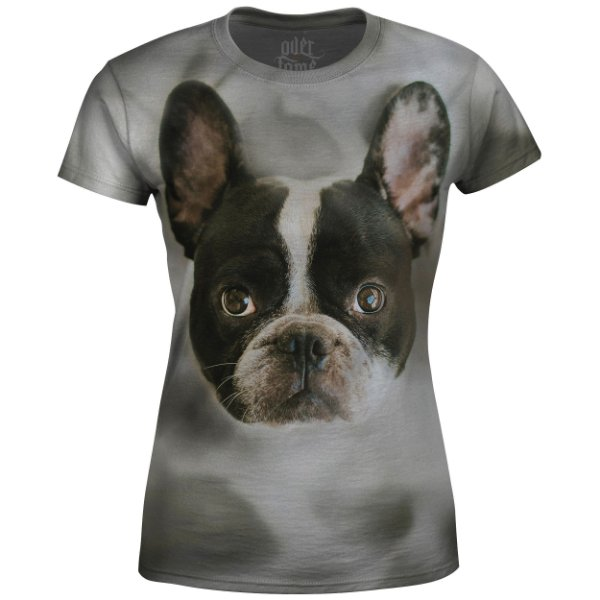 Camiseta Baby Look Feminina Buldogue Francês md01