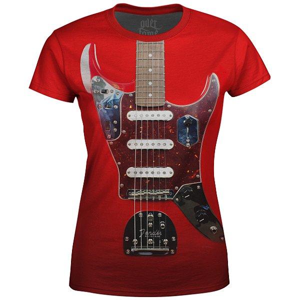 Camiseta Baby Look Feminina Guitarra Fender md01