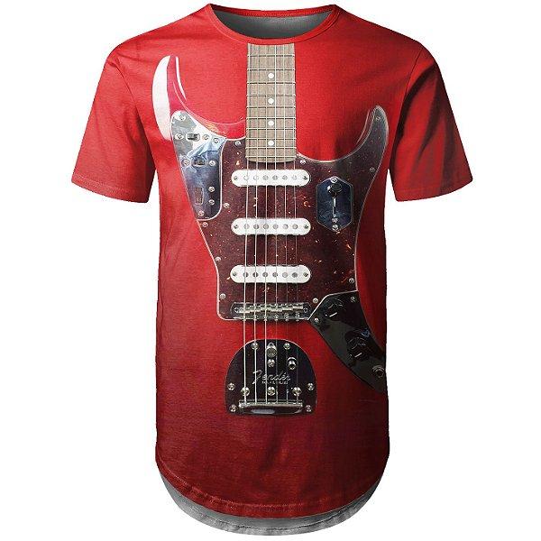 Camiseta Masculina Longline Guitarra Fender Md01