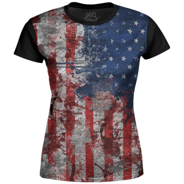 Camiseta Baby Look Feminina Bandeira EUA md01