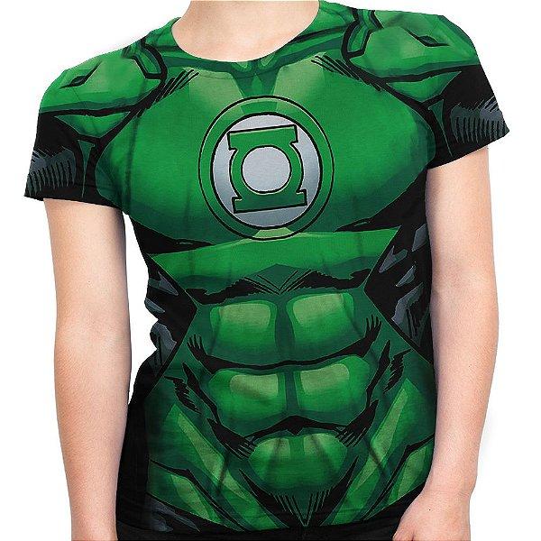 Baby look Feminina Lanterna Verde Traje - OUTLET