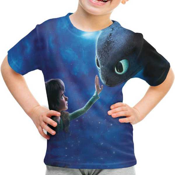 Camiseta Infantil Como Treinar Seu Dragão Estampa Total - OUTLET