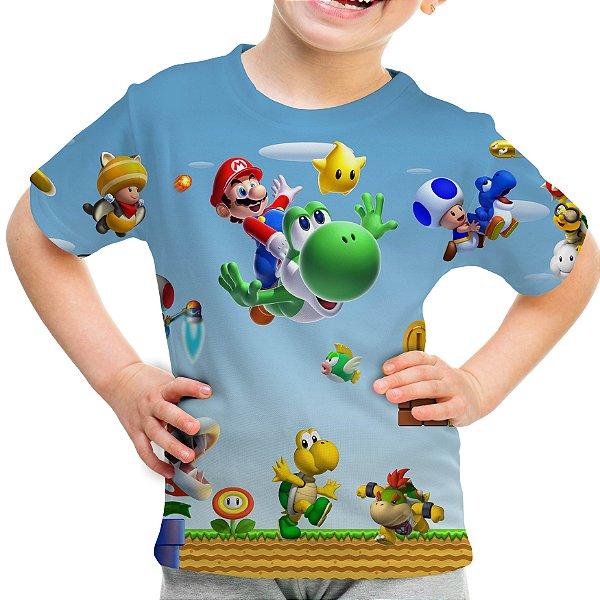 Camiseta Infantil Mario Bros Estampa Total Md02 - OUTLET