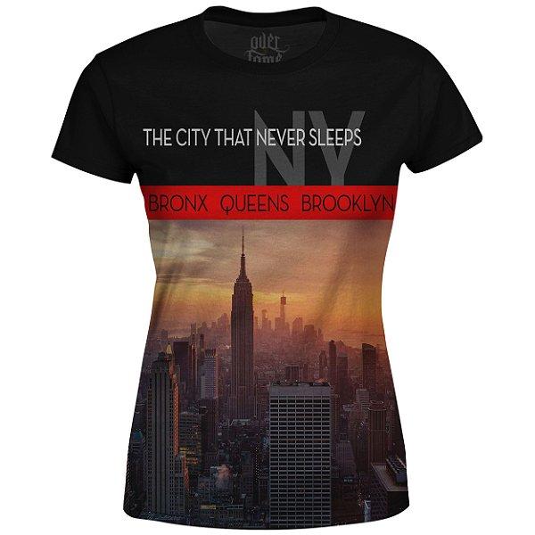 Camiseta Baby Look Feminina New York NY Md01 - OUTLET