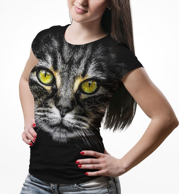 Camiseta Baby Look Feminina Big Face Gato Cinza Estampa Total md02 - OUTLET