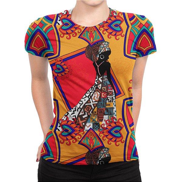 Camiseta Baby Look Feminina Estampa Africana Estampa Total - OUTLET
