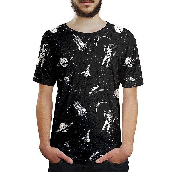 Camiseta Masculina Espacial Astronauta Estampa Digital - OUTLET