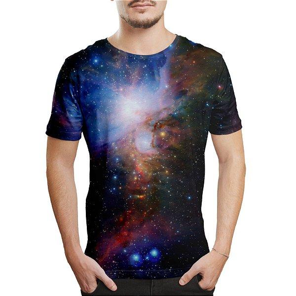 Camiseta Masculina Galáxias Estampa Digital - OUTLET