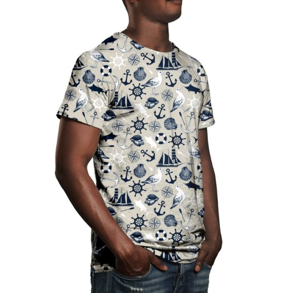 Camiseta Masculina Tema Marinho Estampa Digital - OUTLET