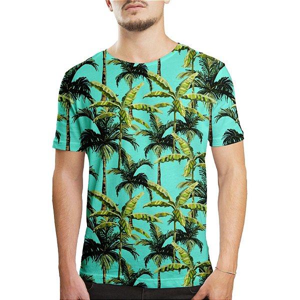 Camiseta Masculina Palmeiras Tropicais Estampa Digital - OUTLET