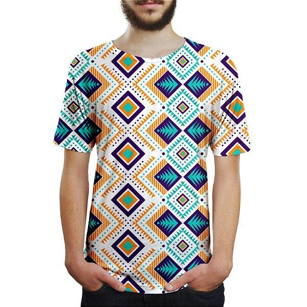 Camiseta Masculina Tribal Asteca Estampa Digital - OUTLET
