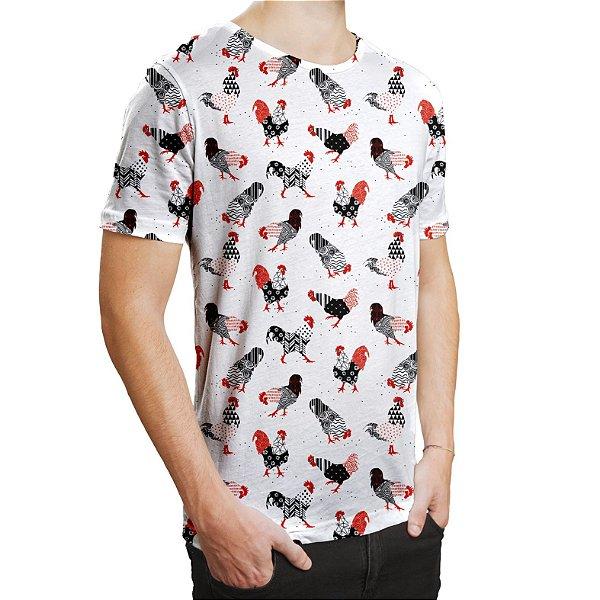 Camiseta Masculina Galos Estampa Digital - OUTLET