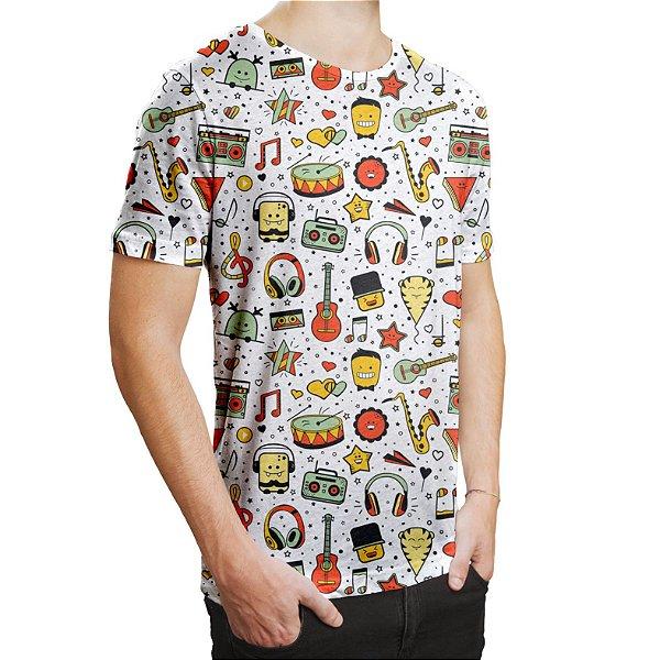 Camiseta Masculina Instrumentos Musicais Estampa Digital - OUTLET