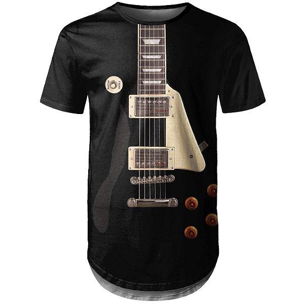 Camiseta Masculina Longline Guitarra Les Paul Md01 - OUTLET
