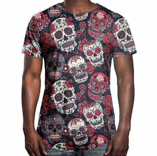 Camiseta Masculina Longline Swag Caveiras Mexicanas Estampa Digital - OUTLET