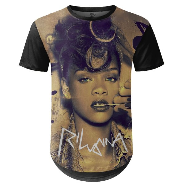 Camiseta Masculina Longline Rihanna Estampa digital md02 - OUTLET