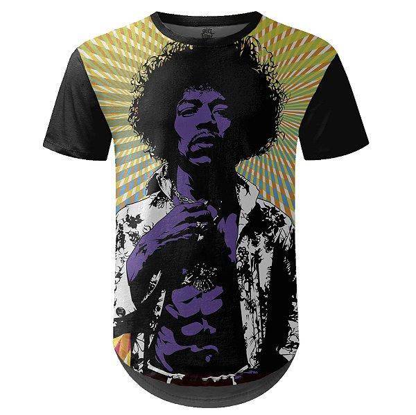 Camiseta Masculina Longline Jimi Hendrix md01 - OUTLET