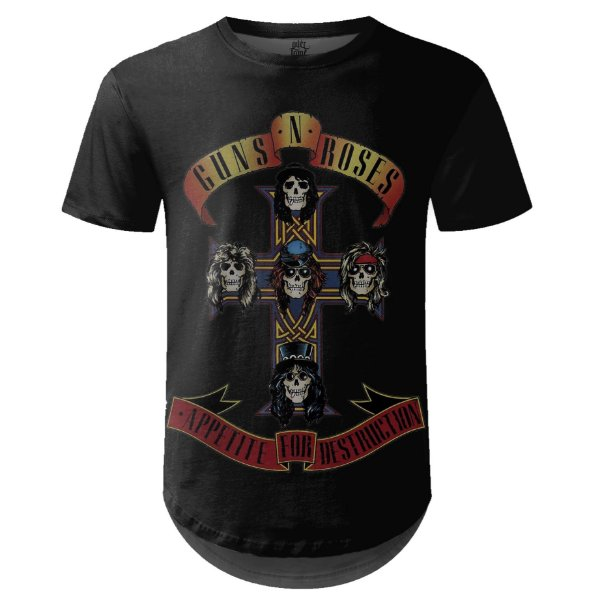 Camiseta Masculina Longline Guns N' Roses md05 - OUTLET