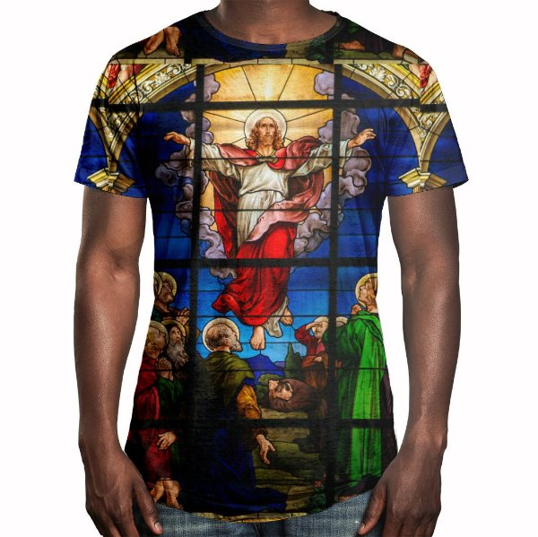 Camiseta Masculina Longline Swag Vitral Jesus Estampa Digital - OUTLET