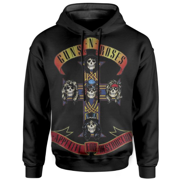 Moletom Com Capuz Unissex Guns N' Roses Guns N' Roses md05