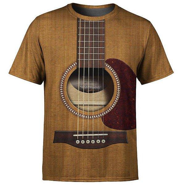 Camiseta Masculina Violão Viola Estampa Digital - OUTLET