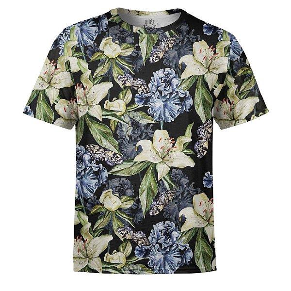 Camiseta Masculina Floral Íris e Borboletas Estampa Digital - OUTLET