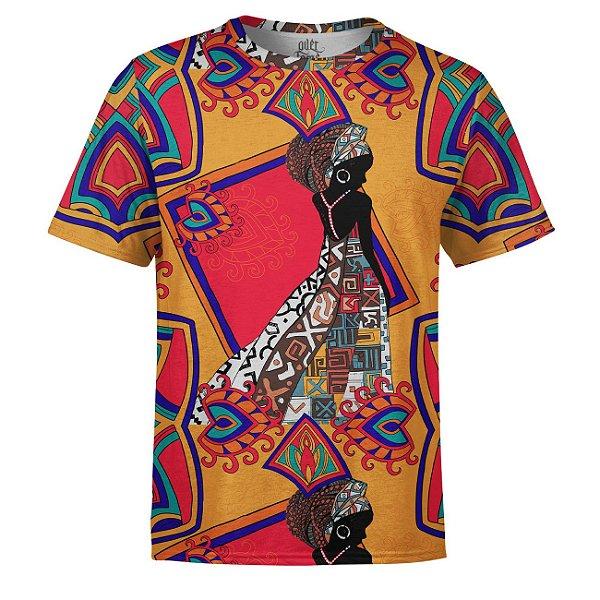Camiseta Masculina Estampa Africana Estampa Digital - OUTLET