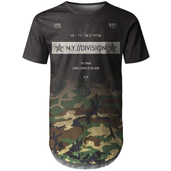 Camiseta Masculina Longline Camuflada Degradê Md03 - OUTLET
