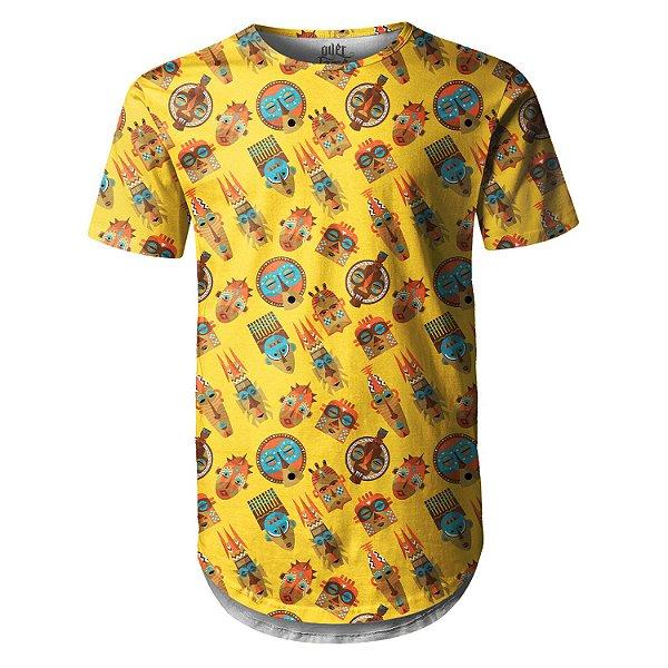 Camiseta Masculina Longline Swag Tribos Africanas Estampa Digital - OUTLET
