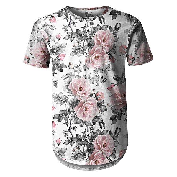 Camiseta Masculina Longline Swag Floral e Folhas Estampa Digital - OUTLET