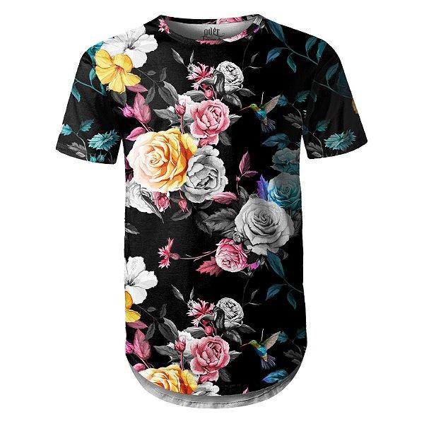 Camiseta Masculina Longline Swag Floral Jardim e Beija-flor Estampa Digital - OUTLET