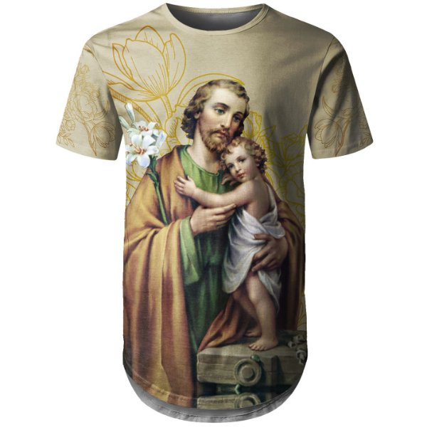 Camiseta Masculina Longline São José Floral - OUTLET