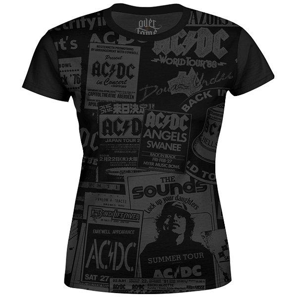 Camiseta Baby Look Feminina AC/DC Estampa Digital AC DC md01 - OUTLET