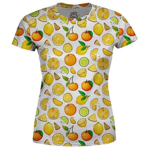 Camiseta Baby Look Feminina Frutas Cítricas Estampa Total - OUTLET