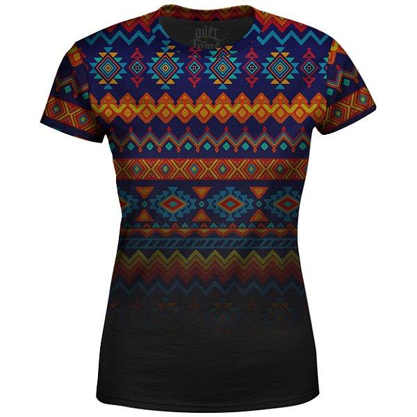 Camiseta Baby Look Étnica Tribal Degradê Md02 - OUTLET