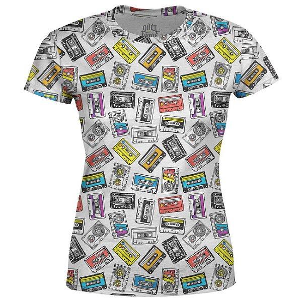 Camiseta Baby Look Feminina Fita Cassete k7 Estampa Total - OUTLET