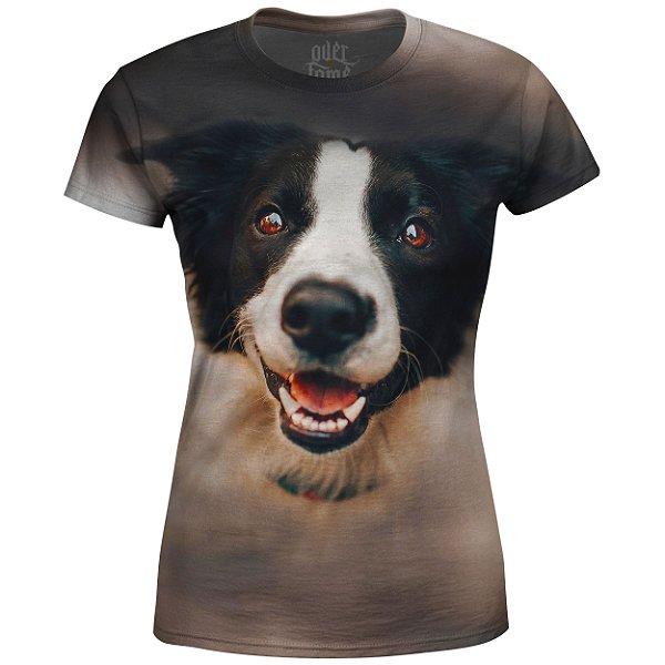 Camiseta Baby Look Feminina Cachorro Branco e Preto md01 - OUTLET