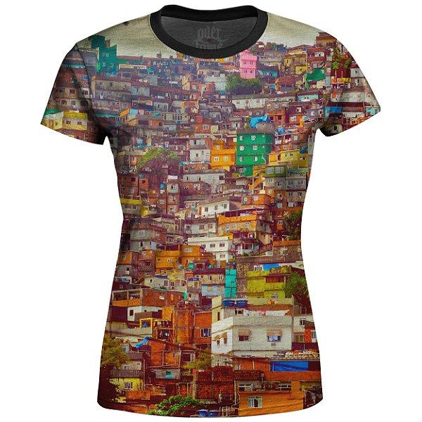 Camiseta Baby Look Feminina Favela Estampa Digital md01 - OUTLET