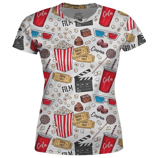Camiseta Baby Look Feminina Cinema Estampa Total - OUTLET