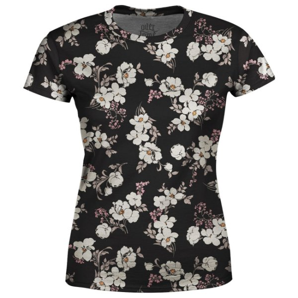 Camiseta Baby Look Feminina Flor de Cerejeira Estampa Total - OUTLET