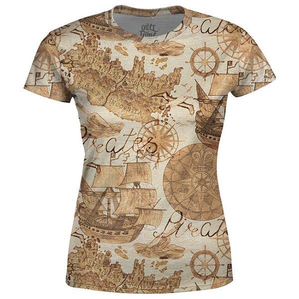 Camiseta Baby Look Feminina Carta Gegráfica Estampa Total - OUTLET